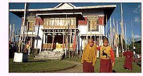 Novices Outside Pemayangtse Monastery